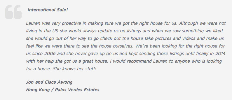 JA Palos Verdes Estates Real Estate Agent Review Testimonial